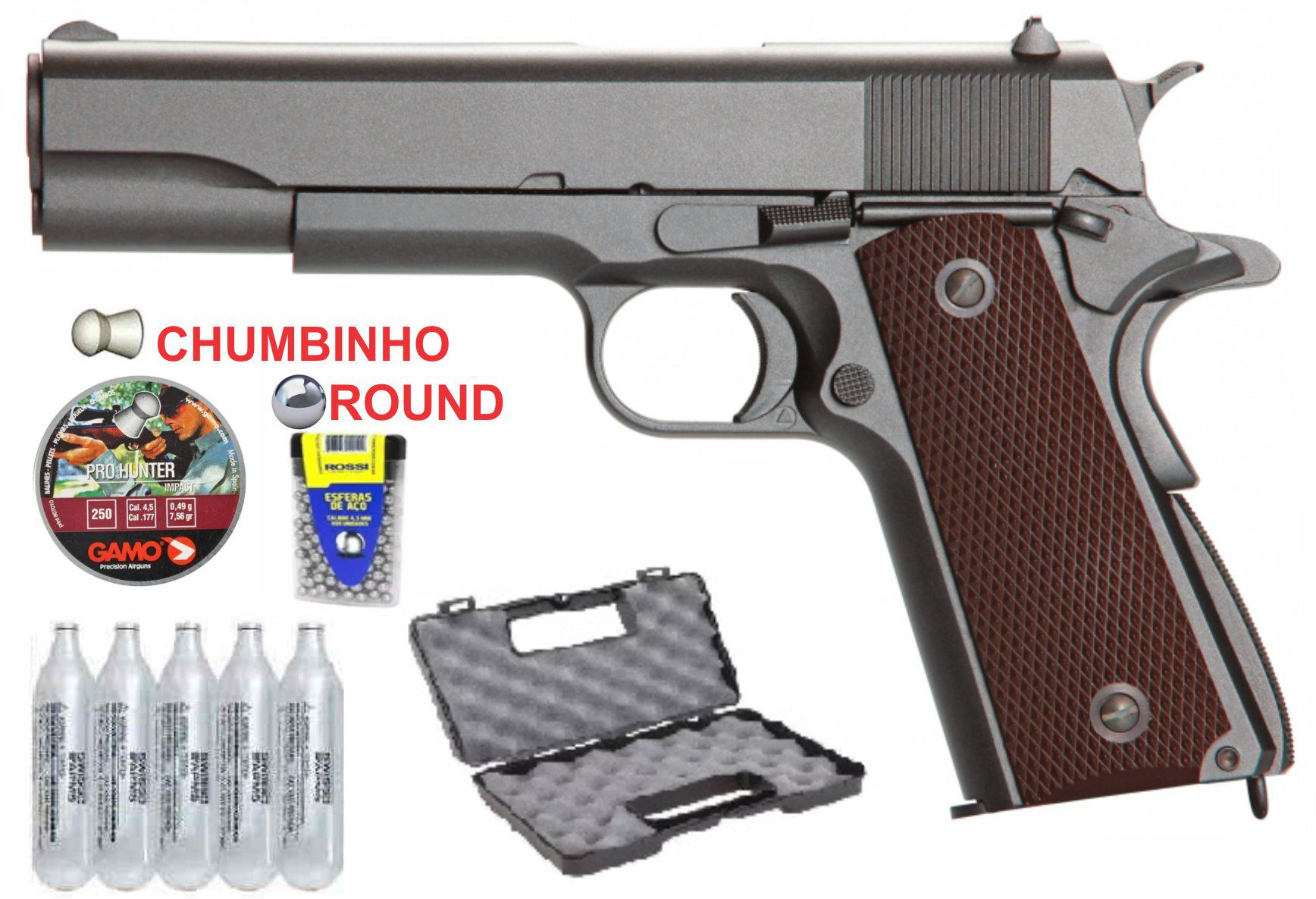 Pistola 1911 full metal 4,5mm chumbinho e esferas metalicas