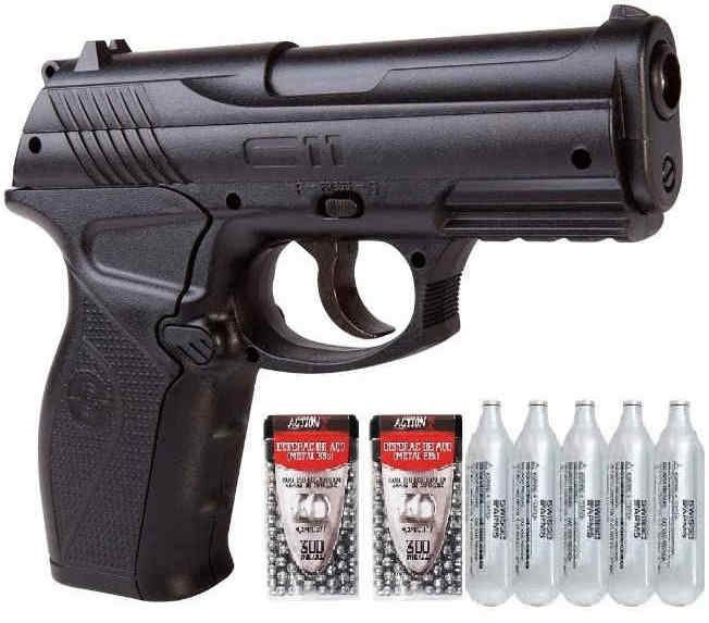 Pistola CO2  C11 Metal 4,5mm e 5 CO2 e 600 esferas
