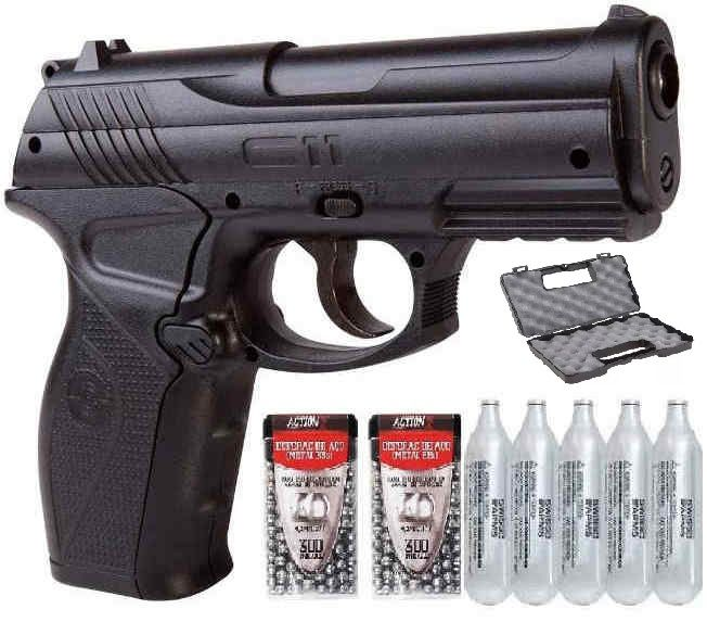 Pistola CO2  C11 Metal 4,5mm  e 5co2 e 600 esferas e Maleta