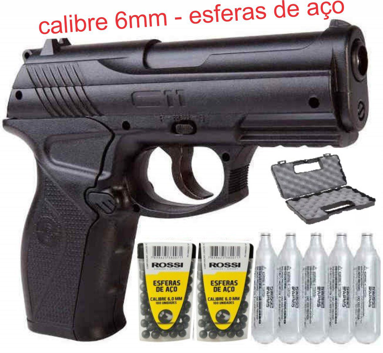 Pistola CO2  C11 Metal 6,0mm  e 5co2 e 200 esferas e Maletas