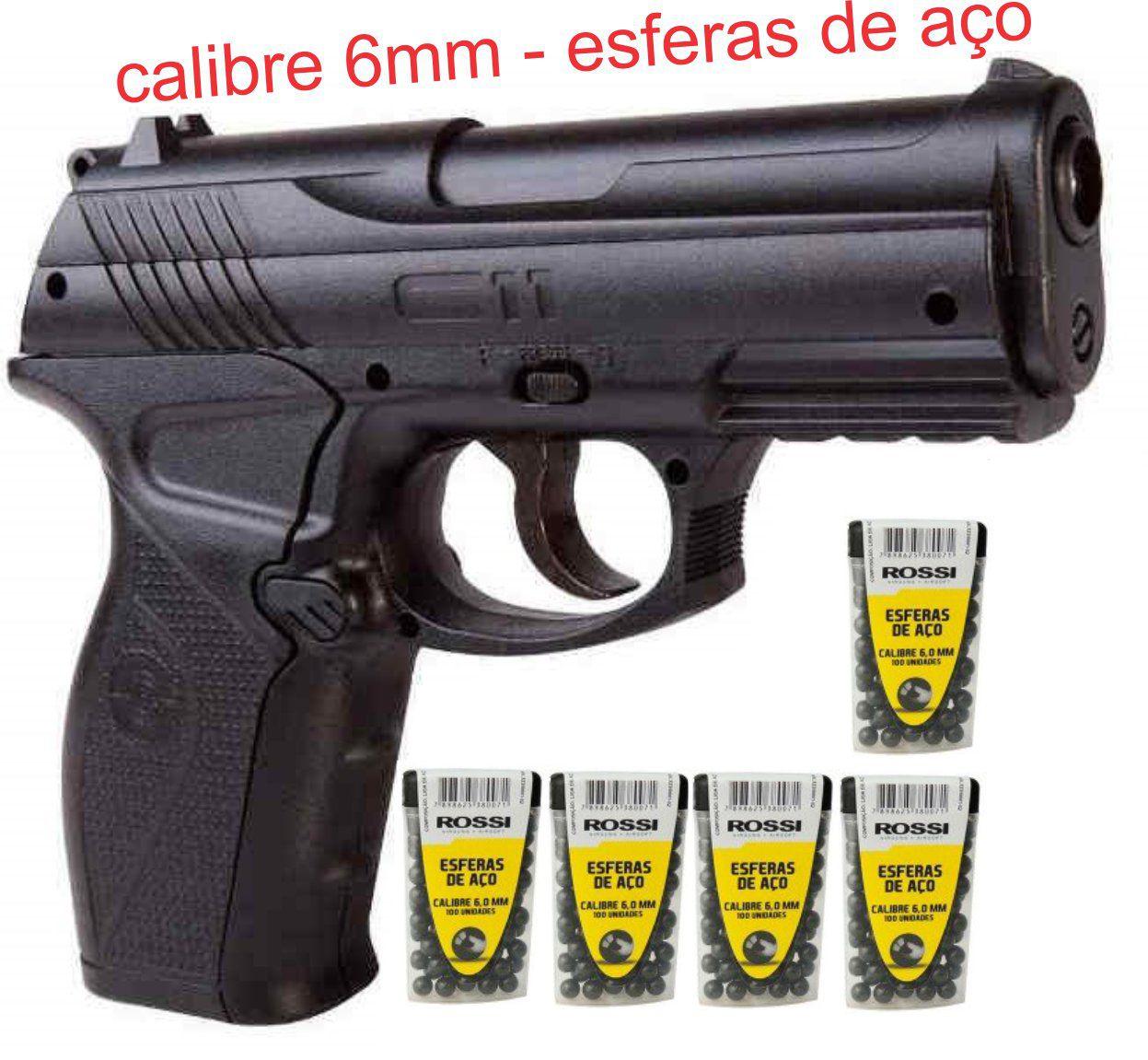 Pistola CO2  C11 Metal 6mm  + 500 esferas de aço