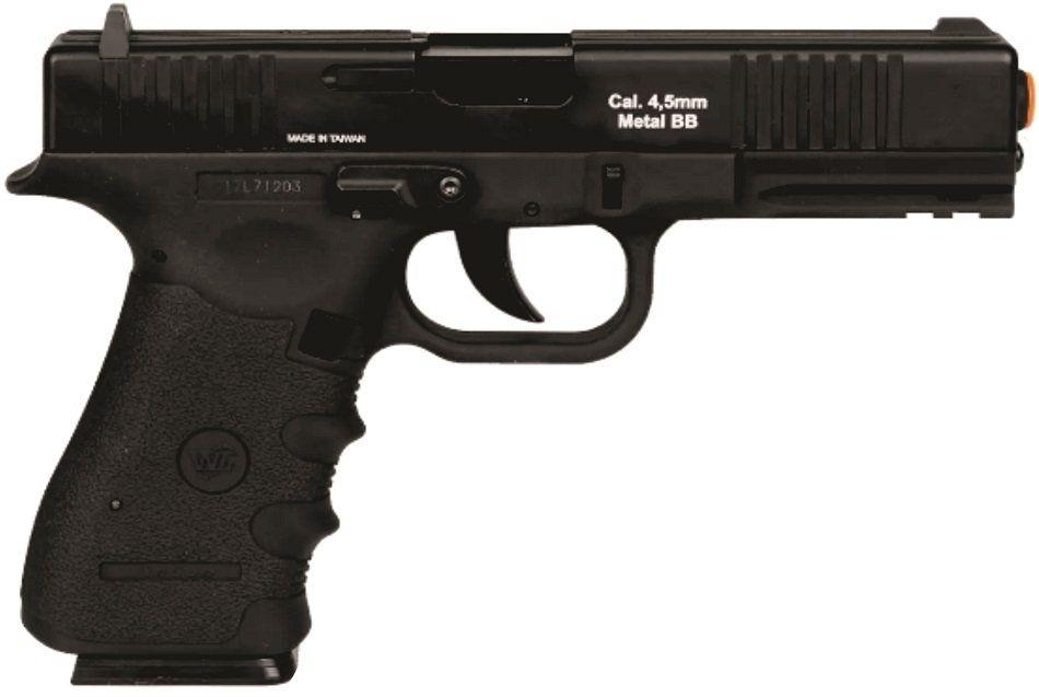 Pistola CO2 Versão Glock W119 Blowback 4,5mm