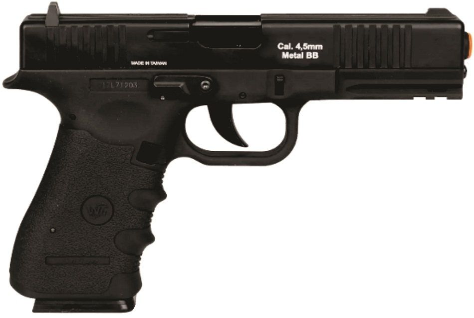 Pistola CO2  W119 Blowback 4,5mm com 5 cilindros CO2 e 600 esferas