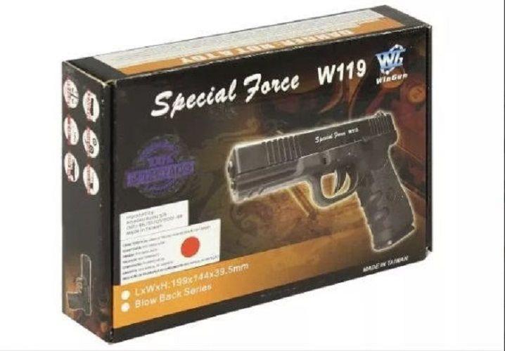 Pistola CO2  W119 Blowback 4,5mm com 5 cilindros CO2 e 600 esferas