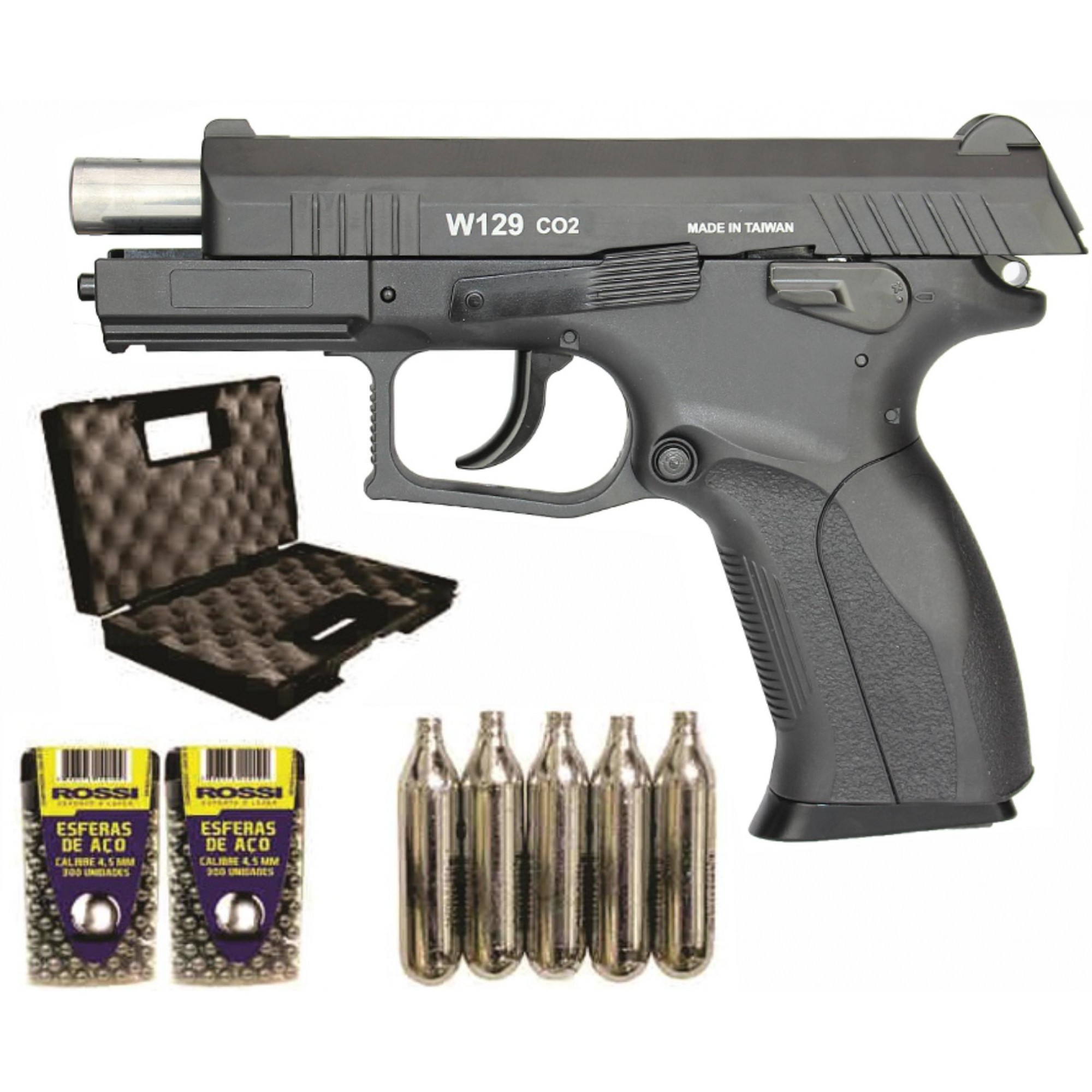 Pistola de Pressão Win Gun CZ300 W129 Slide Metal 4.5mm BlowBack com 600 esferas  5 ampolas CO2 e Maleta Rígida