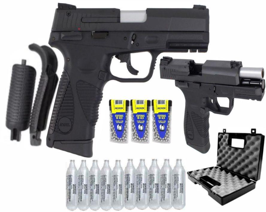 Combo Pistola  de Pressão Taurus Full Metal 24/7 Geração 2 Esfera 4,5mm Blowback