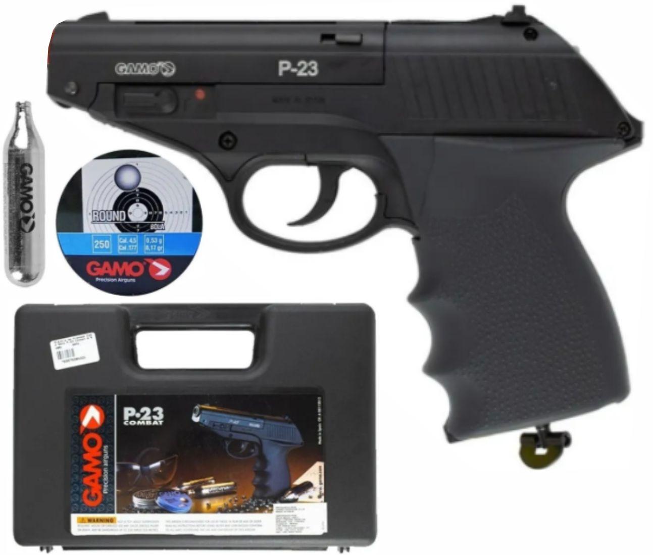 Pistolade Pressão Co2 Gamo P23 4,5mm 12 Tiros - Preta