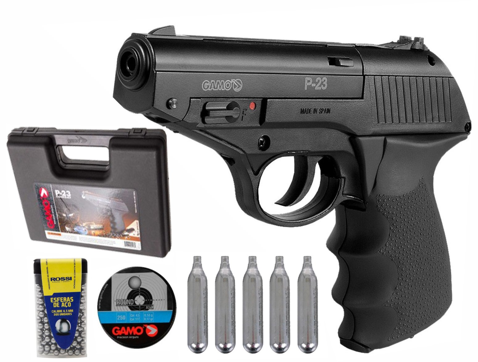 Pistolade Pressão Co2 Gamo P23 4,5mm 12 Tiros - Preta com 300 esferas  e 5 ampolas