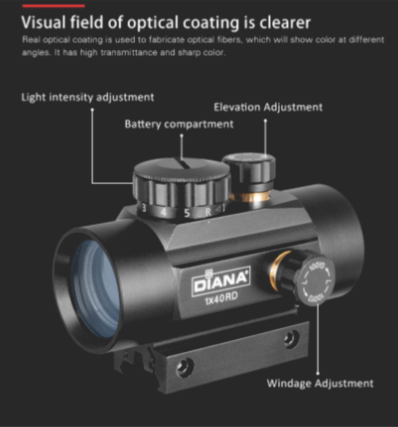 Reddot 3x44 com reticulo luminoso 10 niveis intensidade