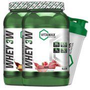 Kit 2x Whey 3W 907 gramas - Vitamax [ GRÁTIS SHAKER]