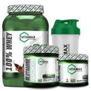 Kit Whey 100% 907g + Glutamina 300g - Vitamax [ GRATIS CREATINA 100g + COQUETELEIRA]