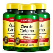 Óleo de Cartamo - 3 unidades de 120 cápsulas - Maxinutri