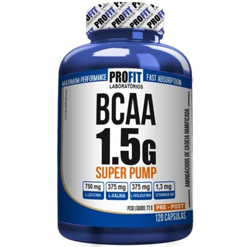 BCAA 1.5g Super Pump 120caps - Profit  - Personall Suplementos