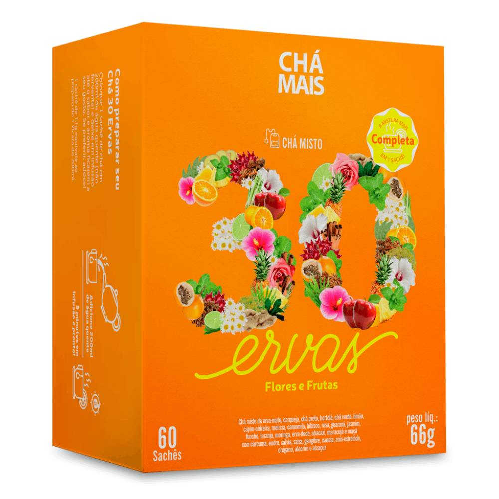 Chá Misto 30 Ervas, Flores e Frutas 60 sachês - Chámais