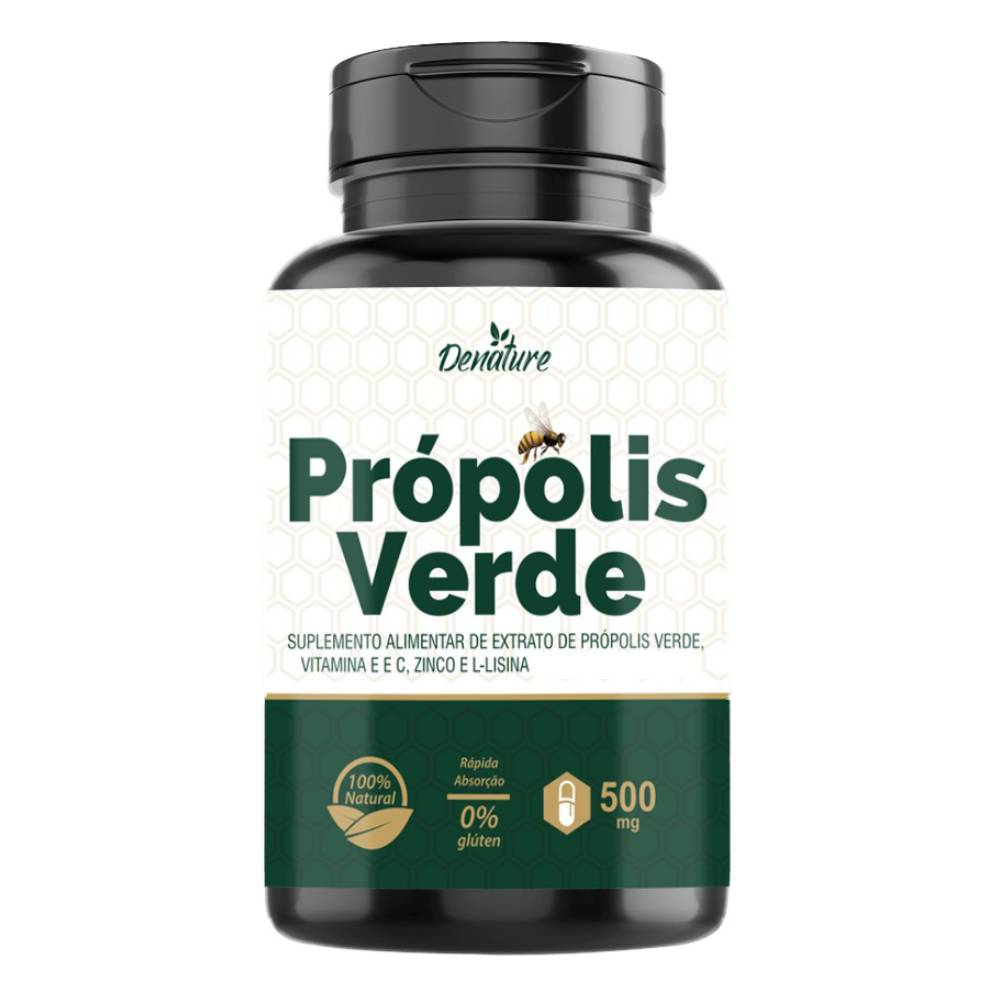 Extrato de Própolis Verde Com Vitaminas e Minerais 100 Cápsulas - Denature