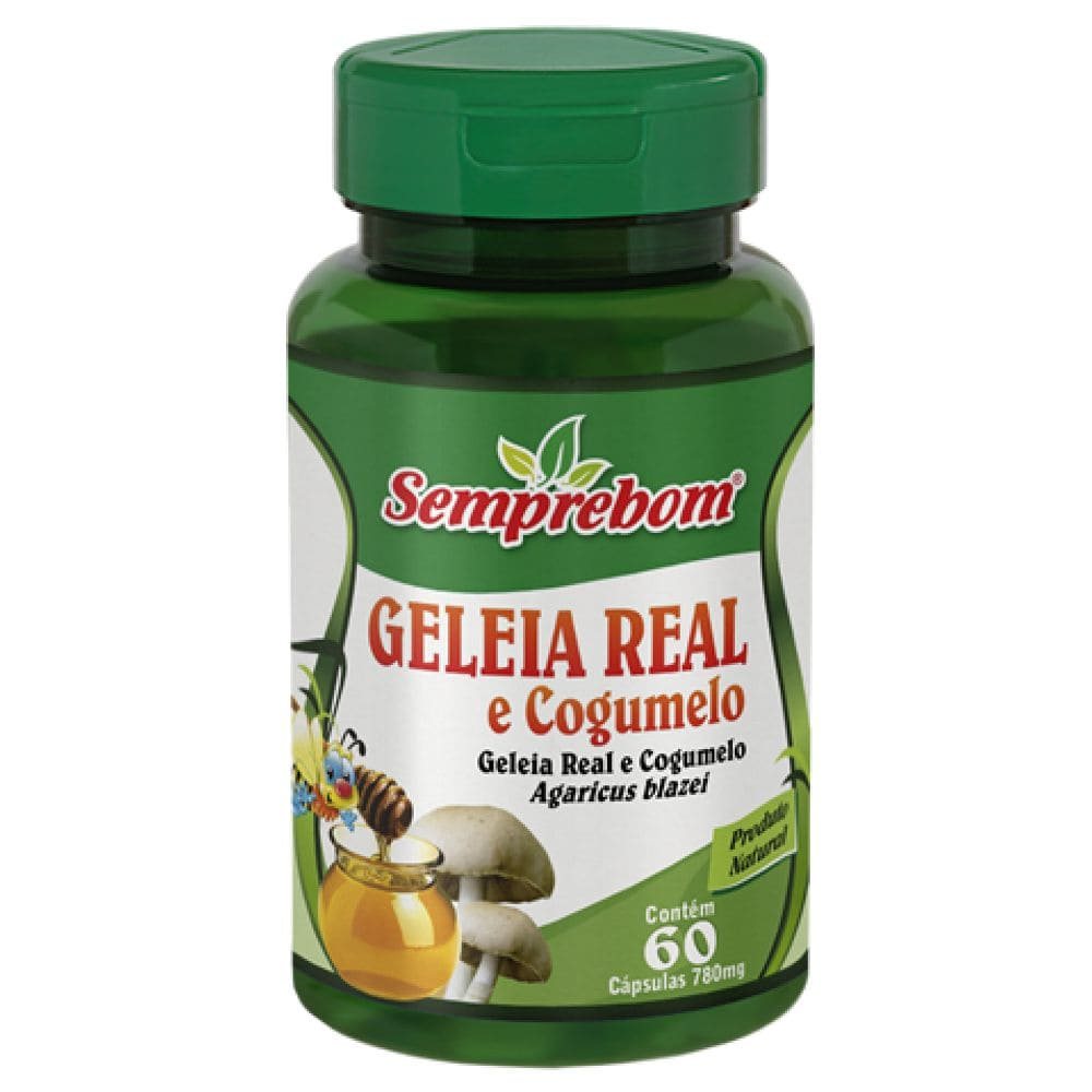 Geleia Real e Cogumelo do Sol 780mg 60 cápsulas - Semprebom