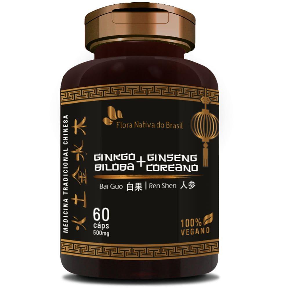 Ginkgo Biloba com Ginseng Coreano 500mg 60 cápsulas - Flora Nativa
