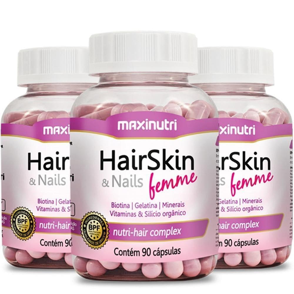 HairSkin & Nails Femme - 3 unidades de 90 Cápsulas - Maxinutri  - Natulha