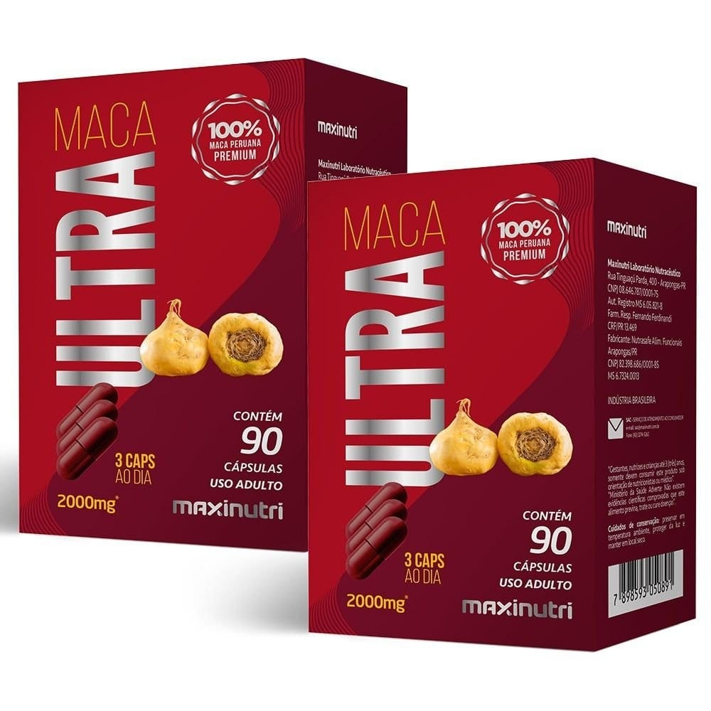 KIT 2X Maca Ultra 90 cápsulas - Maxinutri ( Total 180 cápsulas)