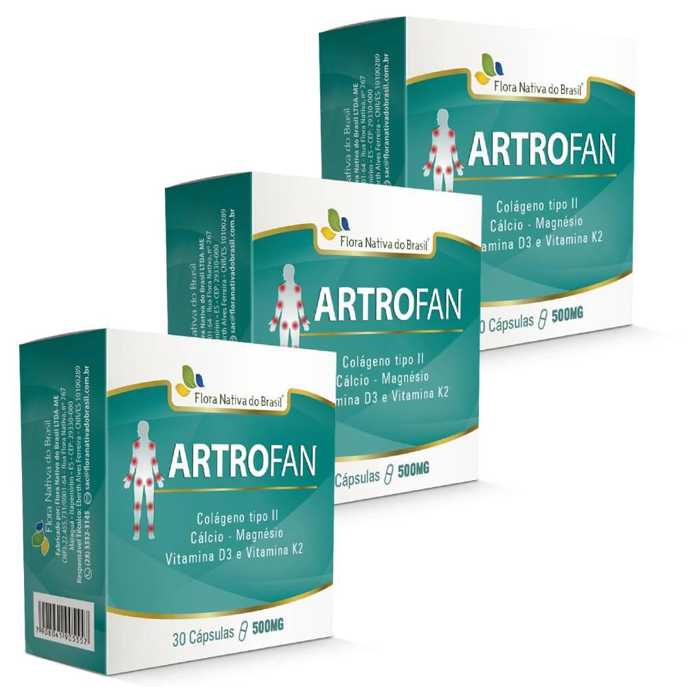 Kit 3x  Artrofan 30 cápsulas 500mg - Flora Nativa