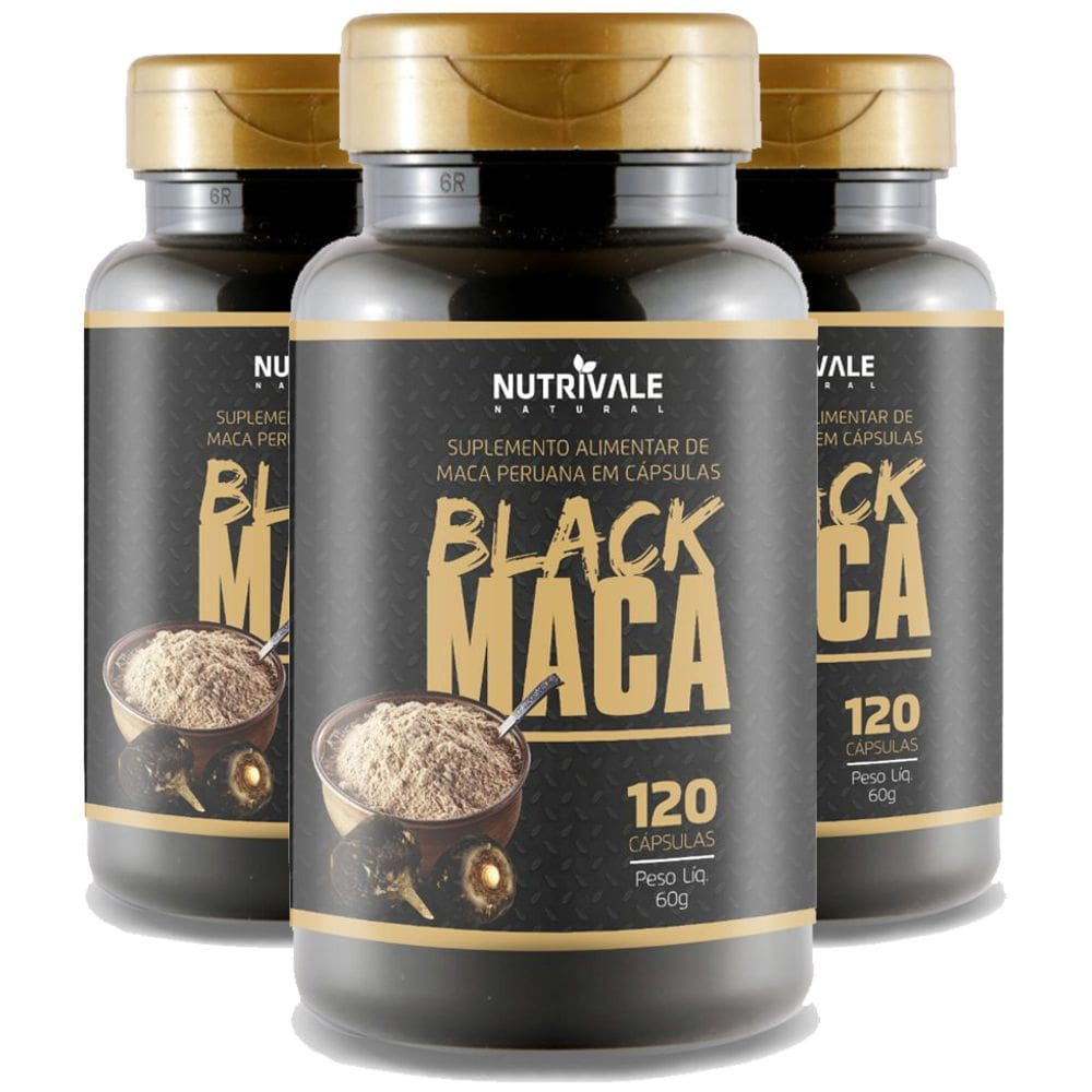 Kit 3x Black Maca Peruana 120 cápsulas - Nutrivale