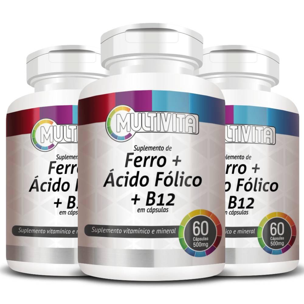 KIT 3x Ferro + Ácido Fólico + B12 60 cápsulas - Multivita