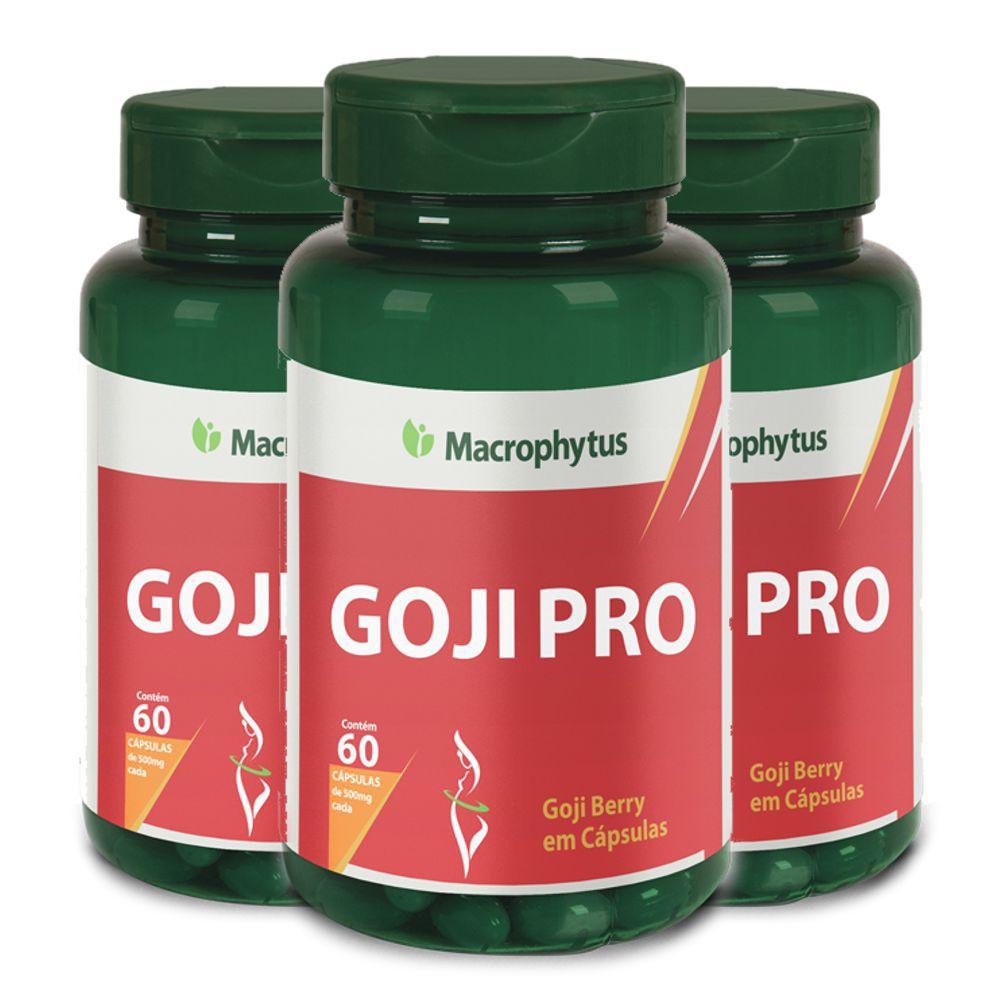 Kit 3x Goji Pro 500mg 60 cápsulas - Macrophytus
