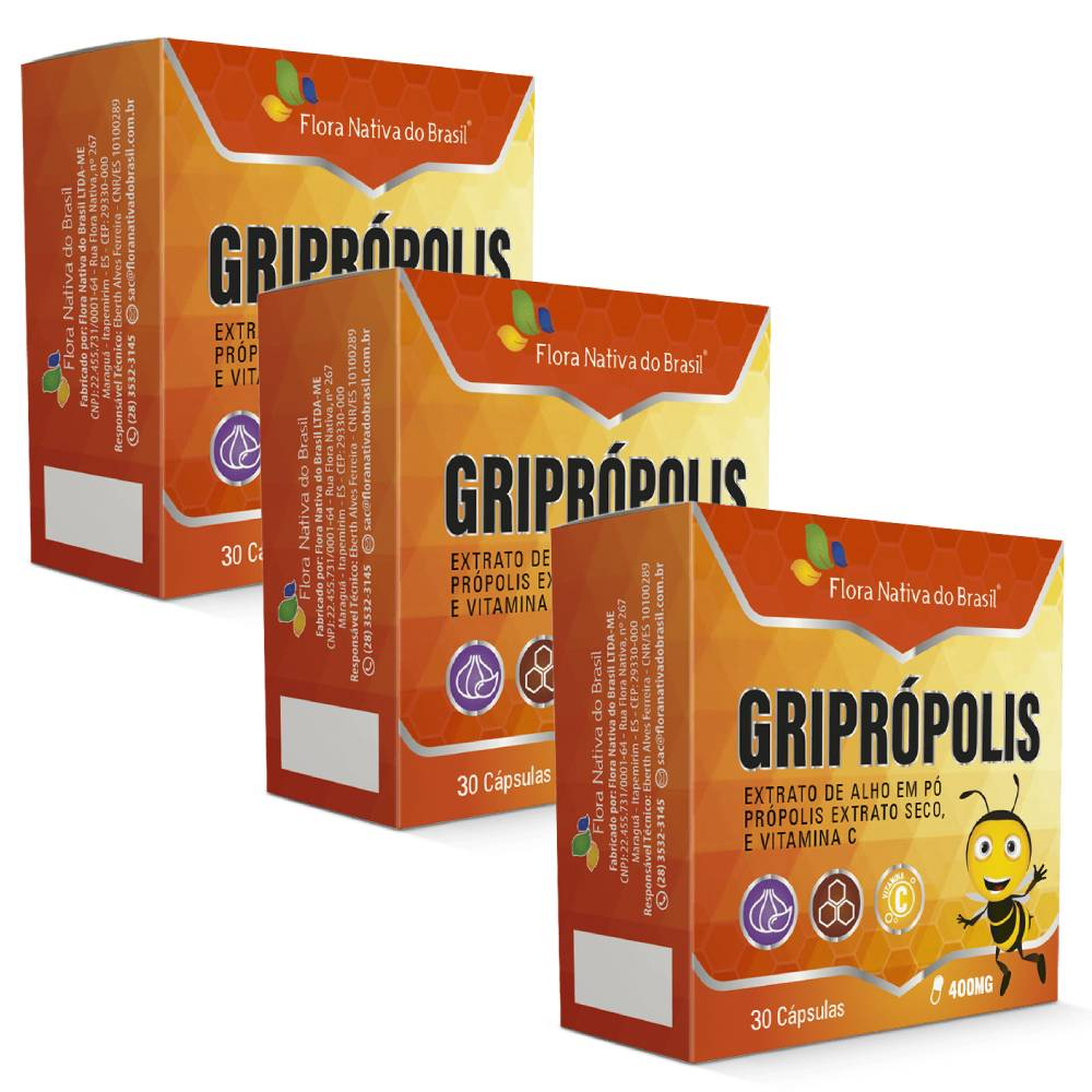 kIT 3X Griprópolis 30 cápsulas - Flora nativa