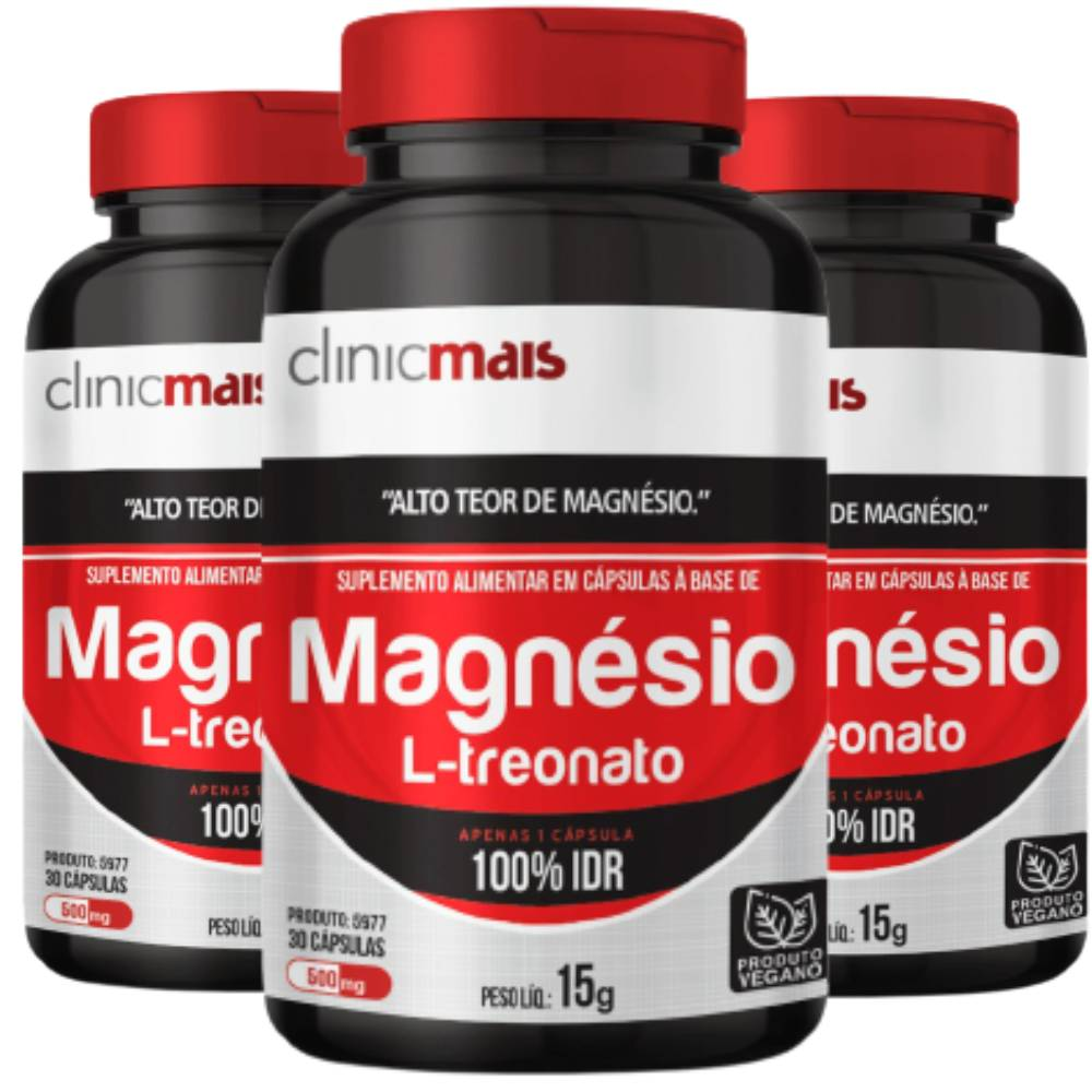 KIT 3x Magnésio L-Treonato Vegano 30 doses - Clinicmais