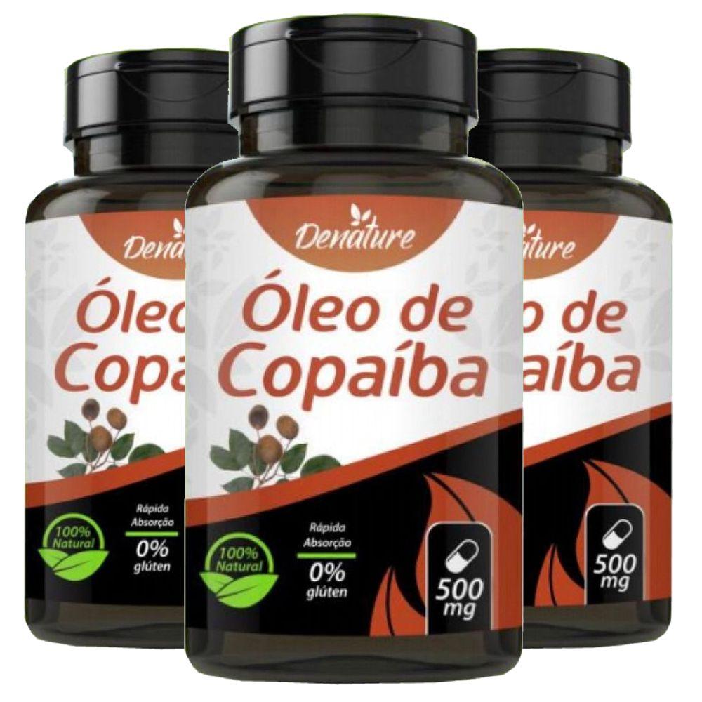 KIT 3x  Óleo de Copaíba 500mg 60 cápsulas - Denature
