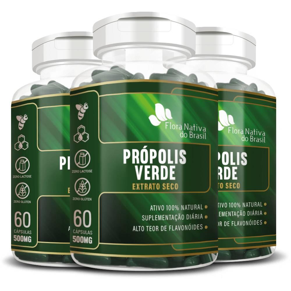 KIT 3x Própolis Verde 500mg 60 cápsulas - Flora Nativa
