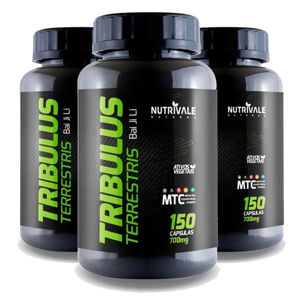 Kit 3x Tribulus Terrestris 63% - Bai ji li - 150 cápsulas - Nutrivale