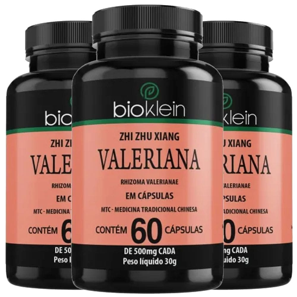 KIT 3x  Valeriana 500mg 60 cápsulas - Bioklein
