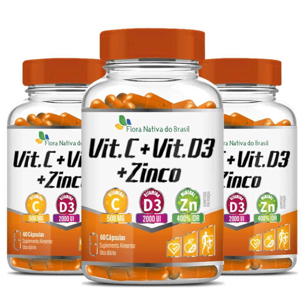 KIT 3x Vitamina C + D3 + Zinco 60 cápsulas - Flora Nativa