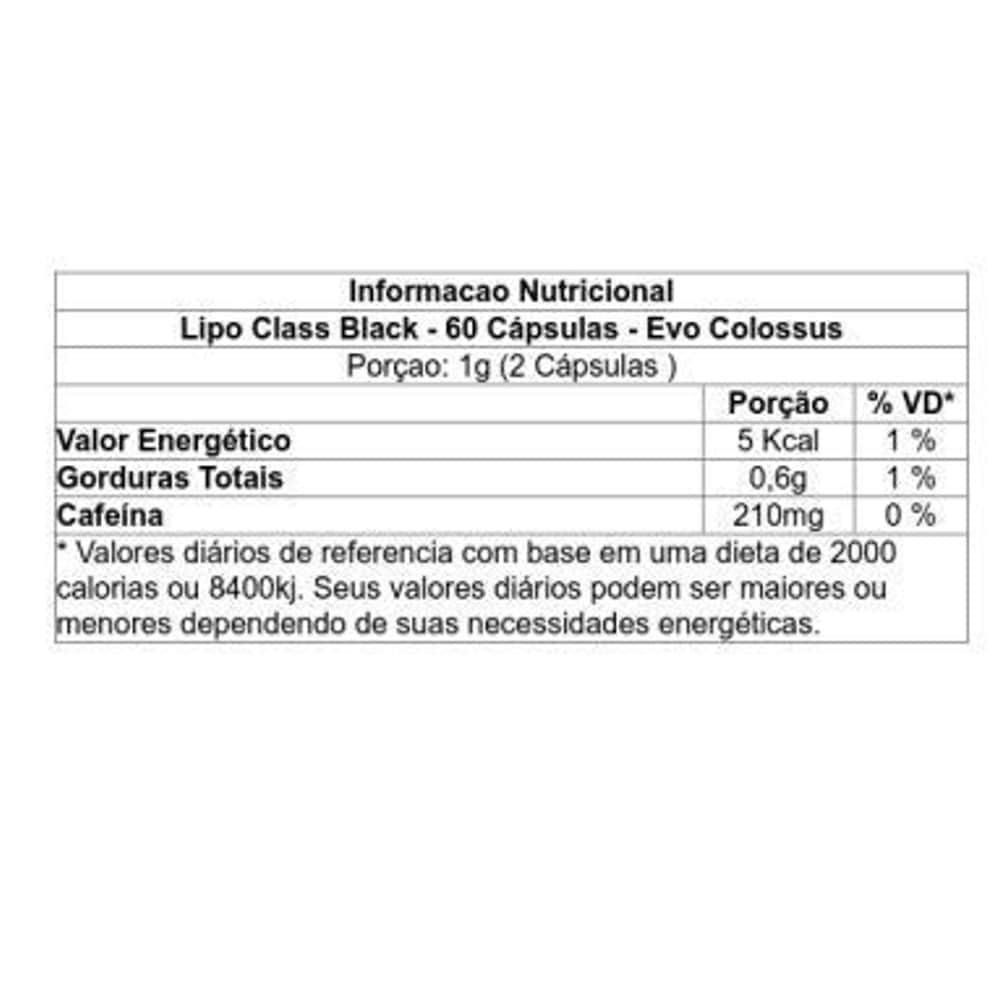 Lipo Class Black 60 cápsulas - Evo Colossus  - Personall Suplementos