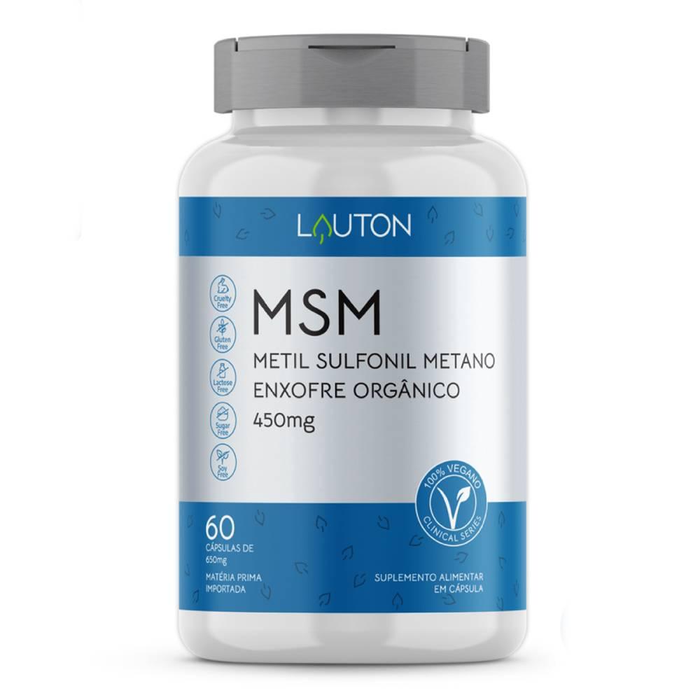 MSM Enxofre Orgânico - Metil Sulfonil Metano  60 Cápsulas  - Lauton Nutrition