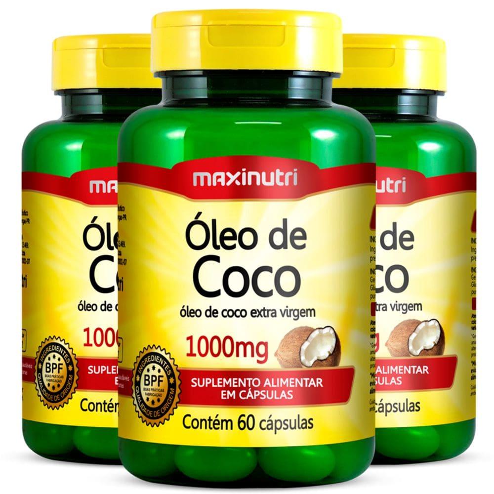 Óleo de Coco - 3 unidades de 60 Cápsulas - Maxinutri