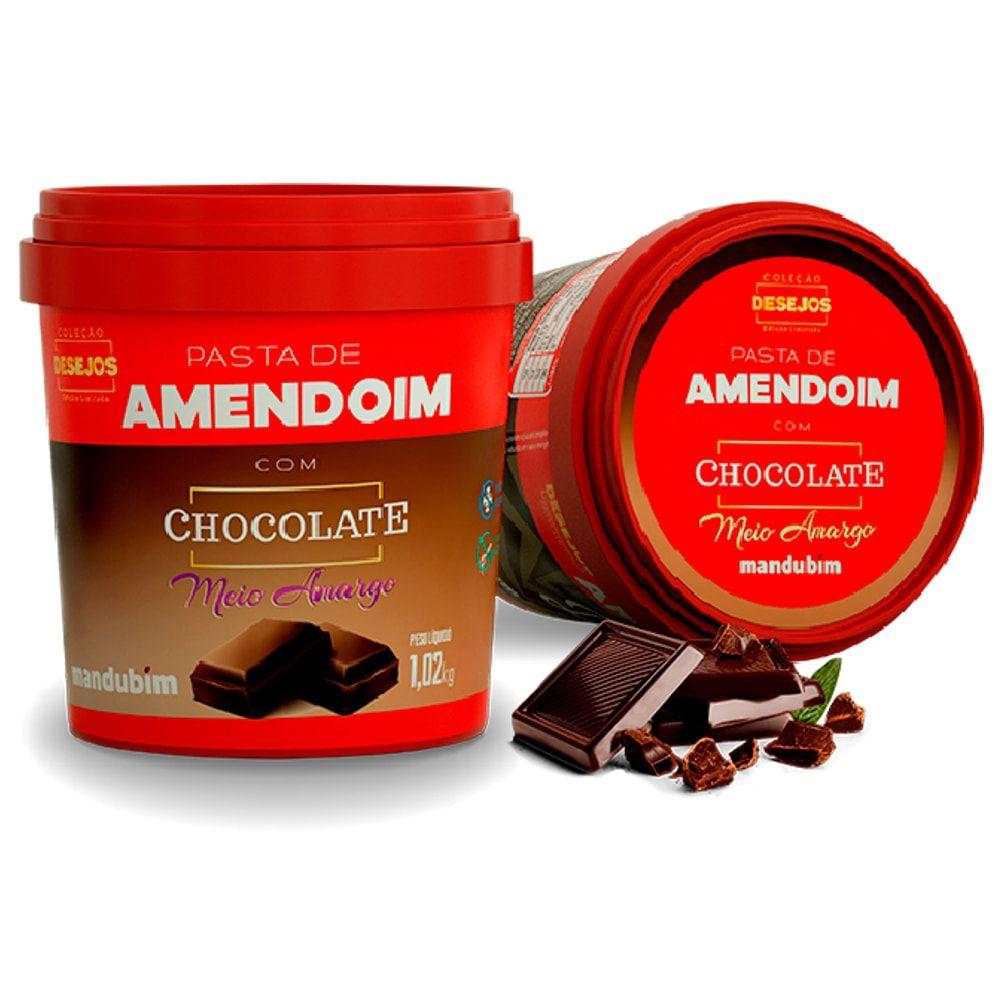 Pasta de Amendoim Com Chocolate Meio Amargo 1kg - Mandubim  - Personall Suplementos