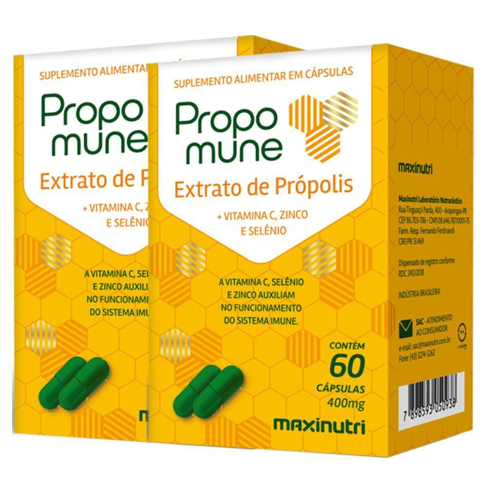 Propomune Extrato de Própolis - 2 unidades de 60 cápsulas - Maxinutri
