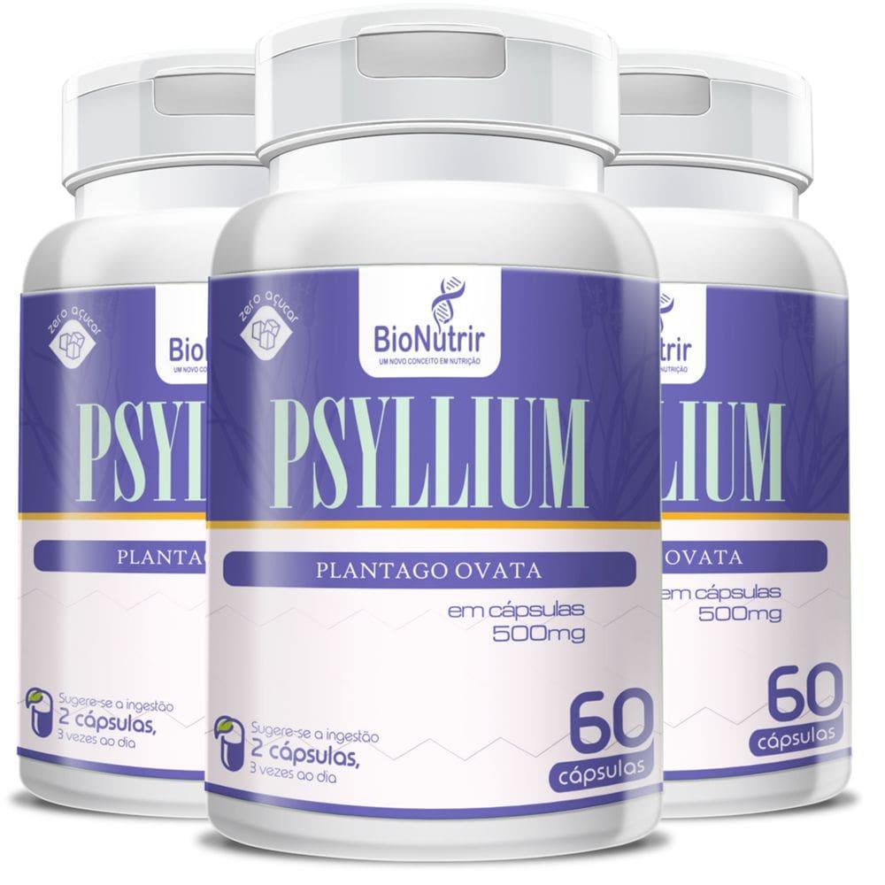 Psyllium 500mg - 3 unidades de 60 cápsulas - Bionutrir
