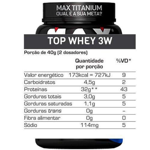 Top Whey 3W 900g - Max Titanium   - Personall Suplementos