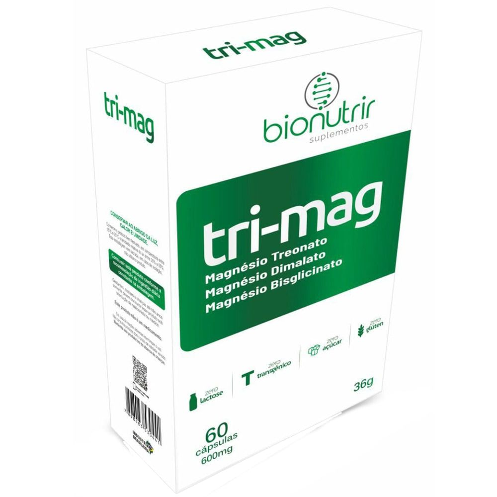 Tri-Mag (Magnésio Dimalato, Treonato e Bisglicinato)  60 cápsulas - Bionutrir
