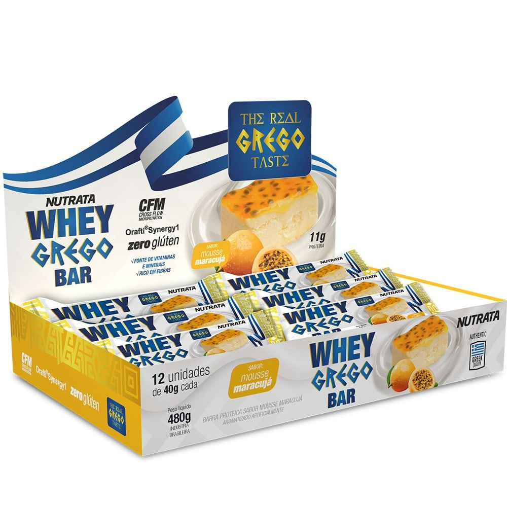 Whey Grego Bar 12 uni - Nutrata  - Personall Suplementos