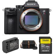 Corpo da câmera digital Mirroless Sony Alpha a7R III com kit de acessórios