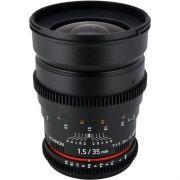 Lente Rokinon 35mm T1.5 Cine AS UMC Para Canon EF Mount