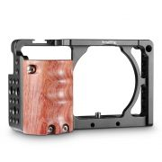 SMALLRIG Camera A6300 Cage for Sony A6000 / A6300 with Wooden Handle Handgrip - 2082