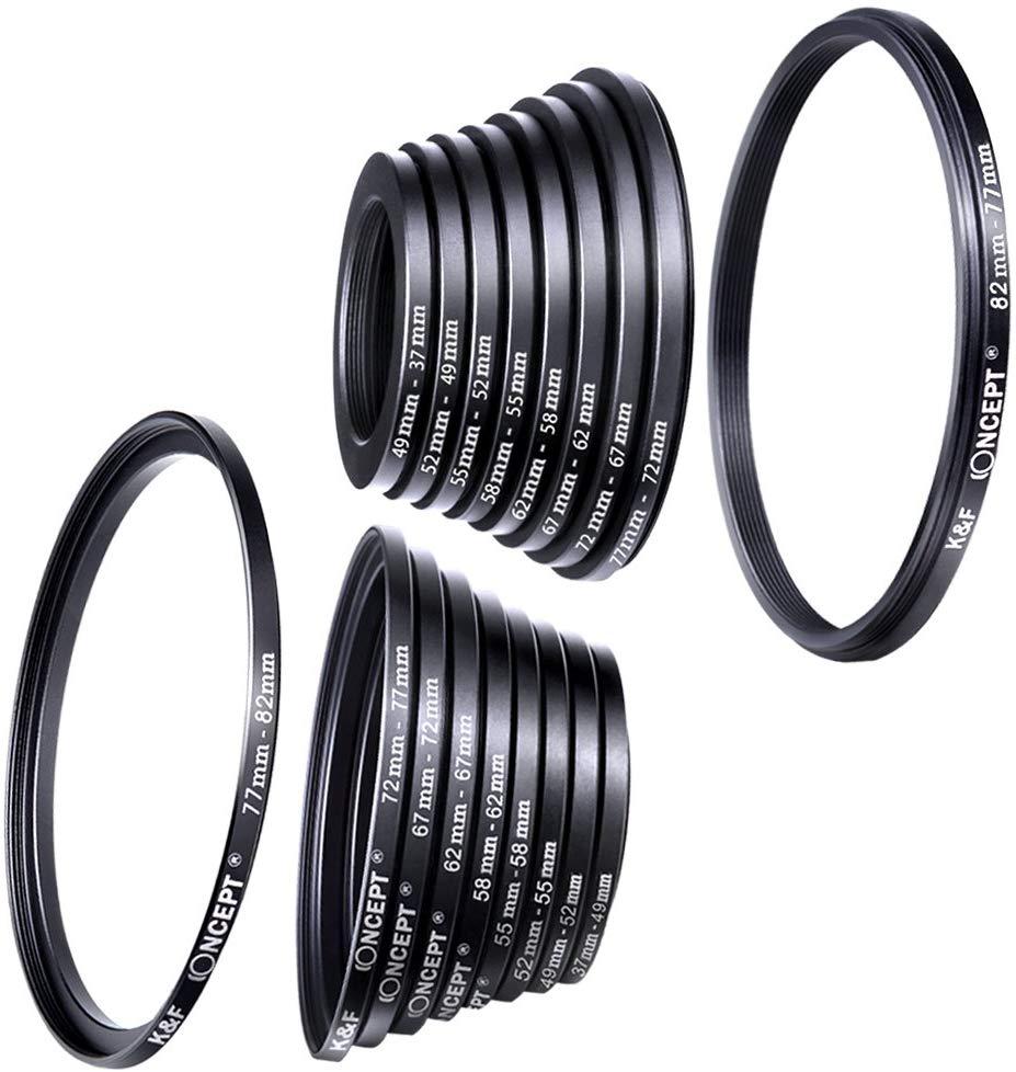 Adaptador de anel de filtro, K&F Concept Kit de anéis de pisca de metal de filtro de lente de câmera 18pcs (inclui conjunto de anel de avanço de 9pcs + conjunto de anel de redução de 9pcs)