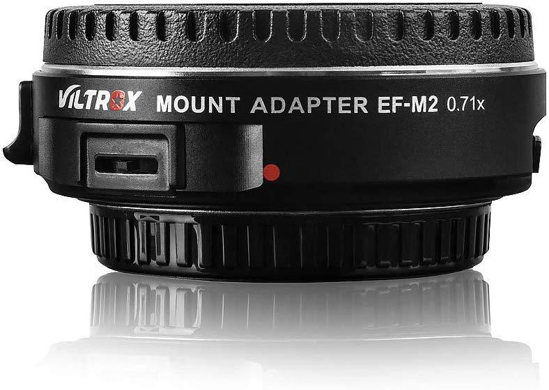 Adaptador VILTROX EF-M2 Focal Reducer Booster Auto-focus 0.71x Canon EF mount series lens para câmera M43,com porta USB de atualização