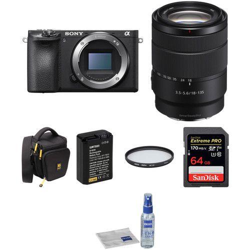 Câmera digital Sony Alpha a6500 sem espelho com kit de lentes e acessórios 18-135mm