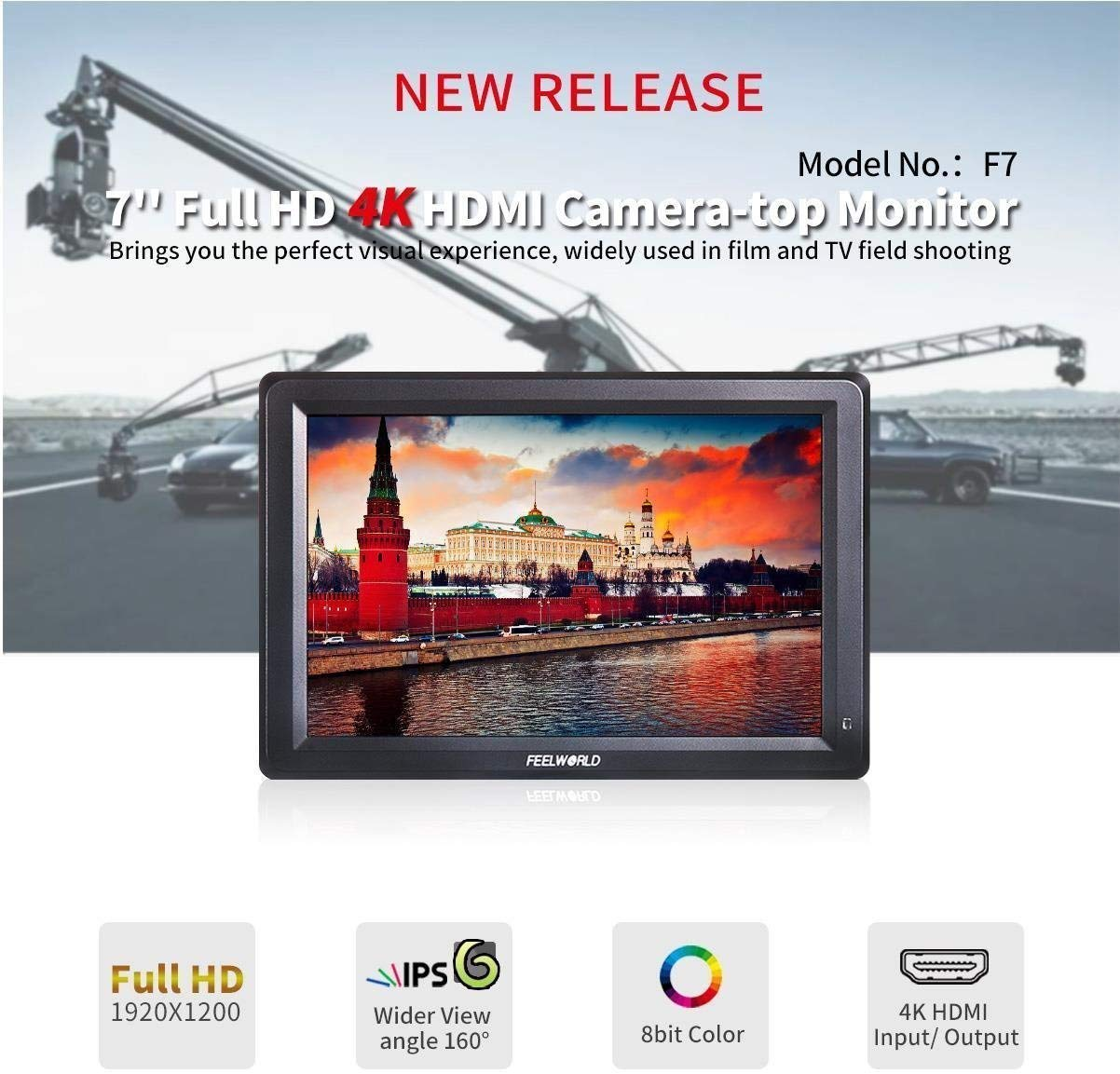 Feelworld F7 7 Inch IPS Full HD 1920x1200 On Camera Field Monitor Supports 4K HDMI Input/Output
